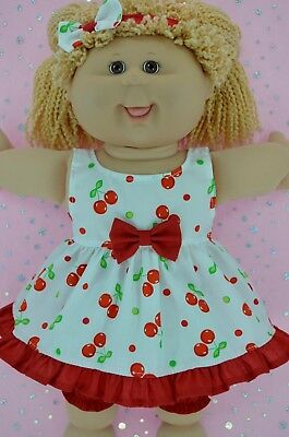 """Play n Wear Doll Clothes For 16"""" Cabbage Patch CHERRY DRESS~BLOOMERS~HEADBAND"""