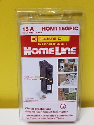 HomeLine Square D HOM115GFIC Circuit  Breaker & Ground-Fault Circuit Interrupter