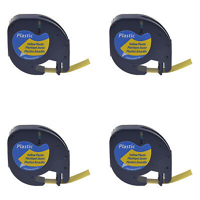 4 PK 12mm Black on Yellow Plastic Label Tape for Dymo Letra Tag LT 91332 LT100H