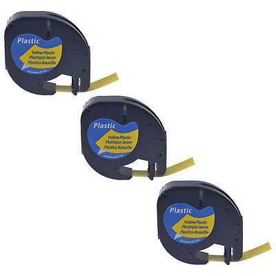 3 PK Black on Yellow Plastic Label Tape for Dymo Letra Tag LT 91332 LT100H 12mm