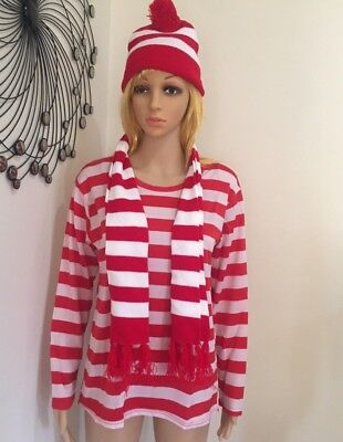 Red and White Striped Top Shirt Beanie Hat Scarf Costume  Long Sleeve Stripe