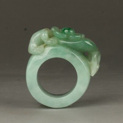Chinese Exquisite Hand-carved flower frog carving Jadeite jade Ring