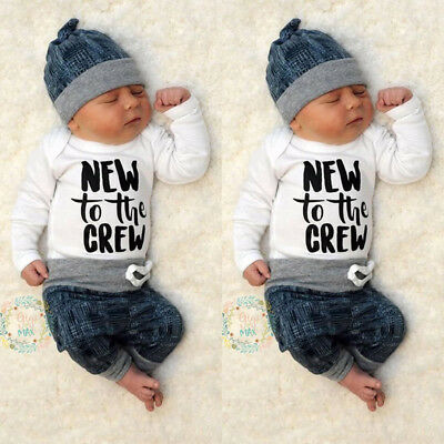 Newborn Kid Baby Boy Girl 3pcs Clothes Jumpsuit Romper Long Pants Hat Outfit Set