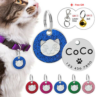 Pet Tag Cat Collar ID Tag Personalised Engraved Glitter Cat Head Tag Dog Cat