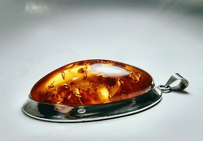 Antique Solid Sterling Silver Huge Natural Amber Pendant Gorgeous!
