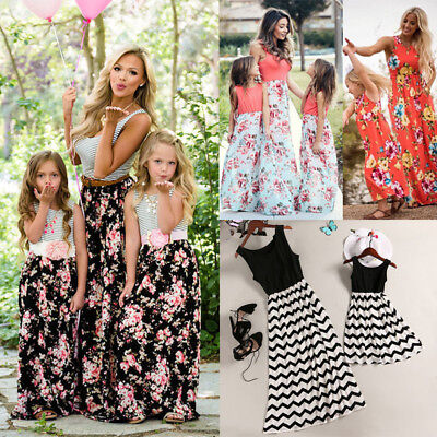 UK Mother And Daughter Sleeveless Anchor Girls Holiday Beach Boho maxi Dress