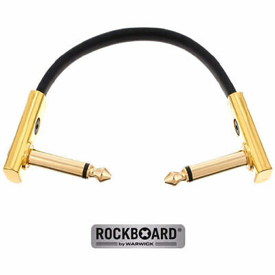 Rockboard Flat Gold Connector Patch 10cm Guitar Cable Space Saving Joiner Lead