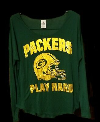 Victoria s Secret Pink Green Bay Packers NFL long sleeve shirt size medium 694f5f9bd