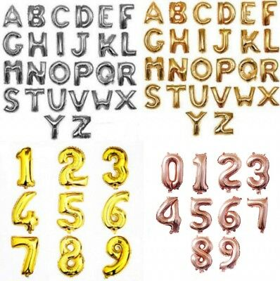 """16""""/40"""" Balloons Gold/Silver/Rose Foil Letter Number for Wedding Party Birthday"""