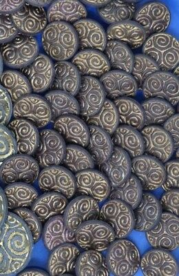 Vintage Ornate Shank Buttons Spiral Swirl 15mm Lot of 10 B8-1