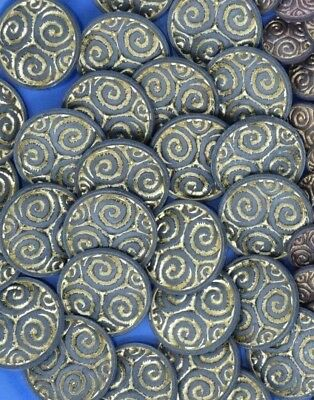Vintage Ornate Shank Buttons Spiral Swirl 25mm Lot of 10 B8-10