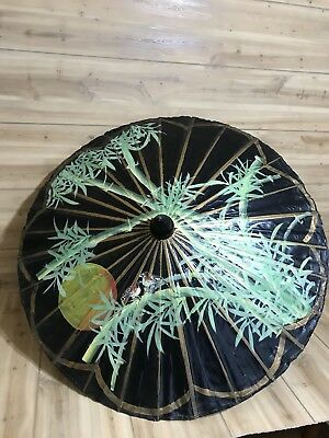VIntage Asian Hand Painted Wood & Paper Umbrella Bamboo Handle Green Birds