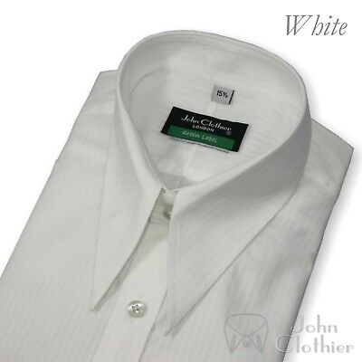 Men Spear point collar Vintage shirt 100% Cotton White Classic Loose for Gents