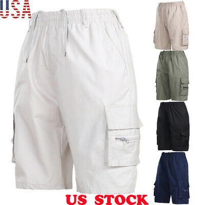 NEW Mens Elasticated Waist Twill Cargo Shorts Casual Short Waist S-3XL US STOCK