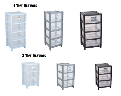 3/4 Tier Deep Drawer Plastic Storage Tower Unit Chest Cabinet Holders Cupboard