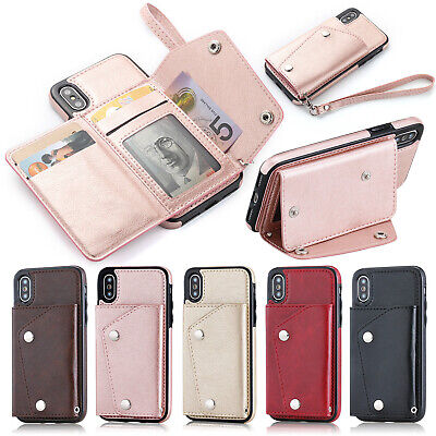 For iPhone XS Max XR 8 7 Phone Case Leather Card Buckle Wallet Flip Strap Cover
