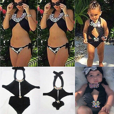 Mommy&Me Family Matching Bikini Mother Daughter Bow tie for Kid Women Swimsuit