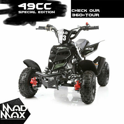 2018 Black 49cc Mini Atv Quad Bike Kids 4 Wheeler Dirt Buggy Pocket Bike Pickup