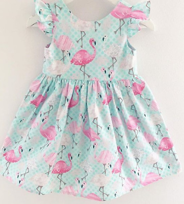 UK STOCK Kids Baby Girls Flamingo Clothes Princess Party Sleeveless Dress Outfit