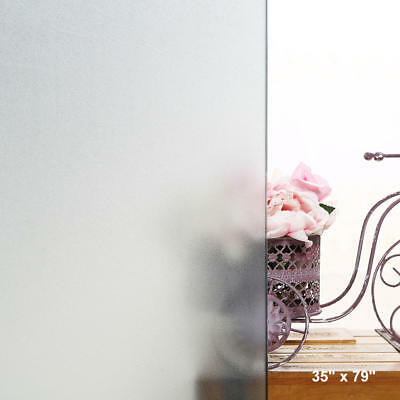 """Premium Glass Frosted Vinyl Privacy Window Film 3D Reflective Etched, 35"""" X 79"""""""