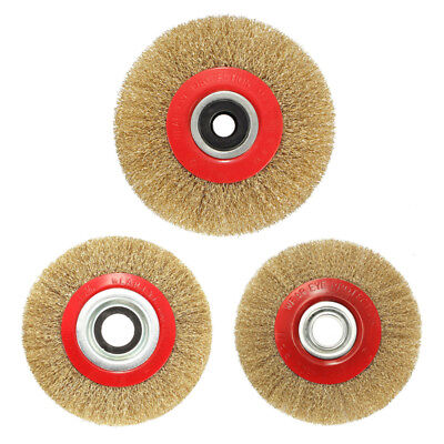 Wire Brush Wheel for Bench Grinder Polish + Reducers Adaptor Rings K9Y8