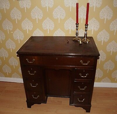 Vintage Georgian Style Mahogany Twin Pedestal Desk Leather Top Study Delivery