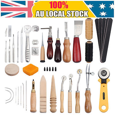 37Pcs Leather Craft Kit Sewing Stitching Punch Carving Work Saddle Groover Tools