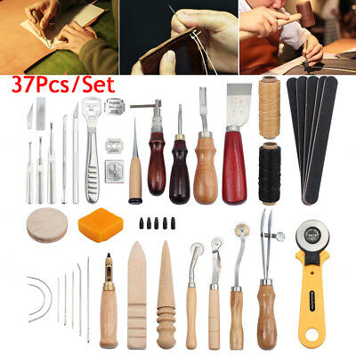 37x Leather Craft Tools Kit Hand Sewing Stitching Punch Carving Work Saddle AU