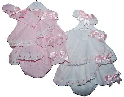 Baby Girls Pretty Spanish Style Tiered Broderie Anglaise Bows Romper & Headband