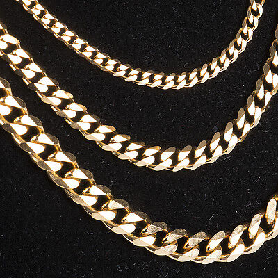 Men 18k Yellow Gold Plated Cuban Chain Necklace Mens Jewelry Hip-Hop