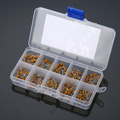 300pcs 10 Values 50V 10pF~100nF Ceramic Disc Capacitors Assortment Kit + Box
