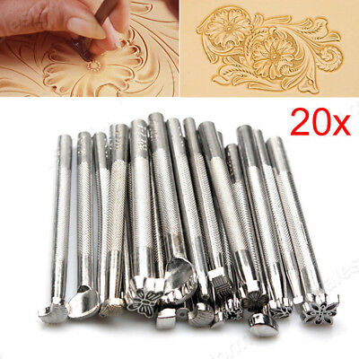 20x Leather Working Saddle Making Carving Leather Craft Stamps Tools Kit Set AU