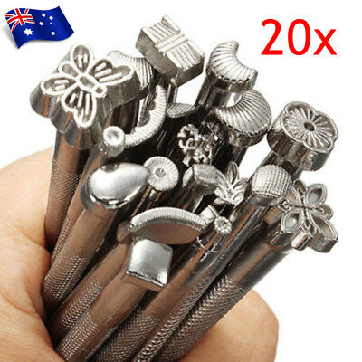 OZ 20Pcs Leather Working Saddle Making Tools Carving Leather Craft Stamps Set