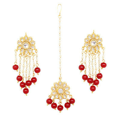 Indian Bollywood Gold Plated Pearl Red Maang Tikka Forehead Earring Ethnic Set