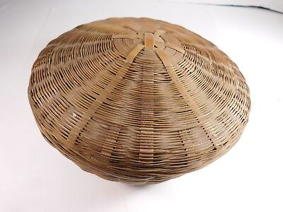 Vintage Chinese Wicker Sewing Basket, 8 1/2 Inches in Diameter - FREE SHIPPING