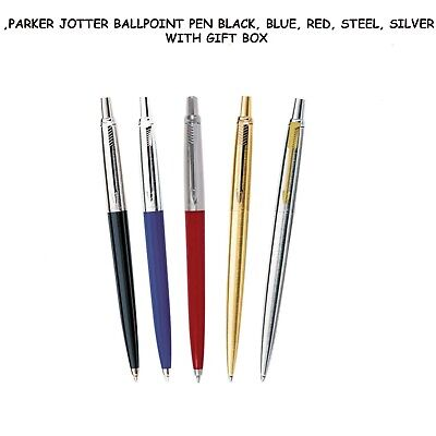 Parker Jotter Ballpoint Pen Black, Blue, Red, Gold,Steel, Silver With Gift Box