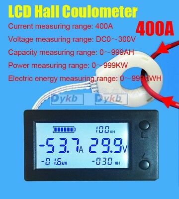 Battery Monitor DC 300V 400A LCD Voltage Current Power Capacity AH Hall Sensor