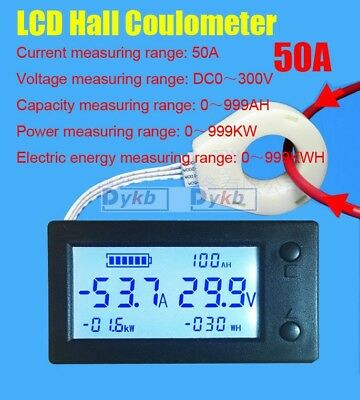 Battery Monitor DC 300V 50A LCD Voltage Current Power Capacity AH Hall Sensor