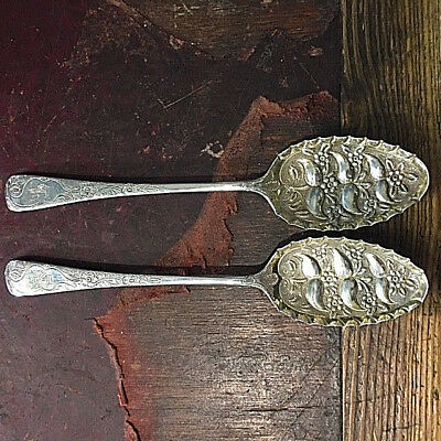 Pair of sterling silver berry spoons - No Reserve