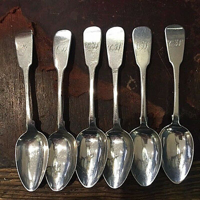 5 Antique Fiddle pattern Irish sterling teaspoons + 1 Scottish - No Reserve