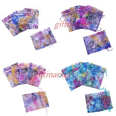 100pcs Butterfly Coralline Organza Candy Gift Bags Jewelry Pouch Wedding Favors