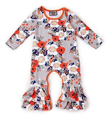 Girl BABY BALOOGA boutique romper 0-3-6-12 NWT tiered ruffle cloth flower cotton