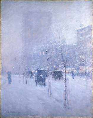Handmade Oil Painting repro Childe Hassam Late Afternoon New York Winter