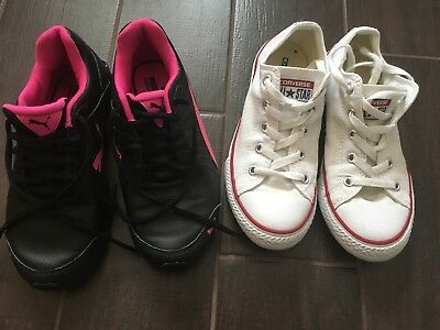 2 Pairs Of Girls Trainers / Converse, Very good Condition, size UK2 / EUR34