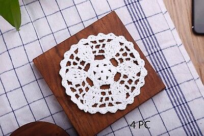 Handmade Doilies Crochet 5 Inch Lace Round Table Placemats Coasters, Pack Of 4