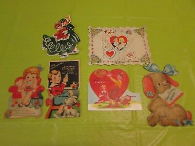 A Lot Of 6 Vintage Valentine Cards