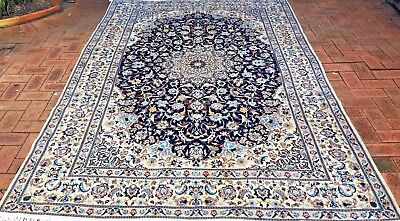 Persian Nain Authentic Hand-Knotted Wool and Silk Rug (200 cm x 300 cm)