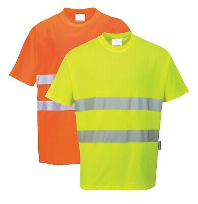 PORTWEST Cotton Comfort T-Shirt Hi Vis Reflective Breathable Wicking Safety S172