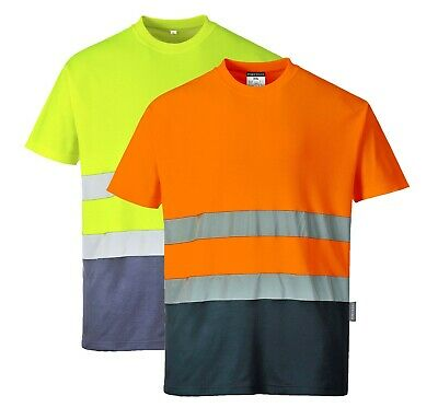 Portwest Two Tone Cotton Comfort T-Shirt Hi Vis Wicking Summer Reflective S173