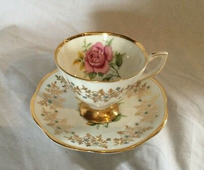 Vintage Antique Clare England Teacup and Saucer Petite Gold Rose Bone China